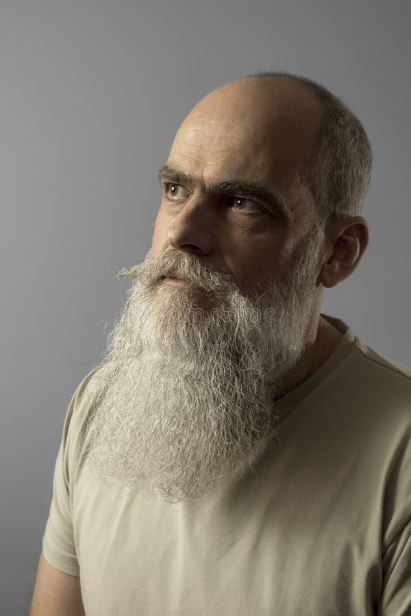 un retrato masculino maduro barbudo imagen de archivo