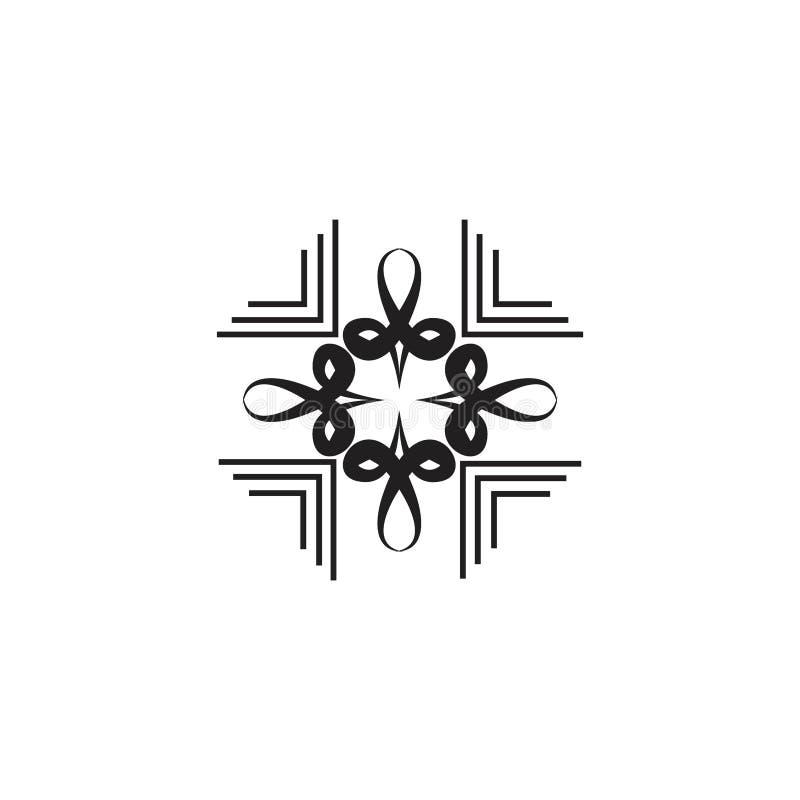 Un retro ornamento floreale cubico illustrazione vettoriale