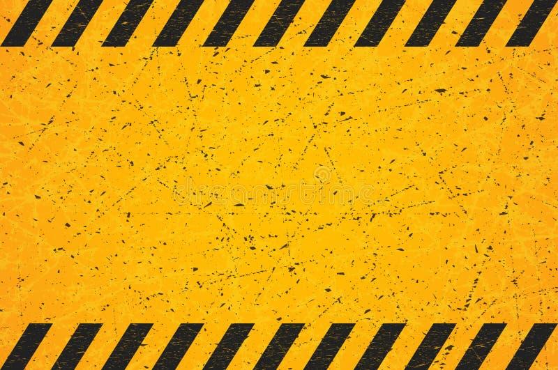 Un rettangolo a strisce nero consumato Segnale di pericolo in bianco graffiato Illustrazione di vettore illustrazione vettoriale