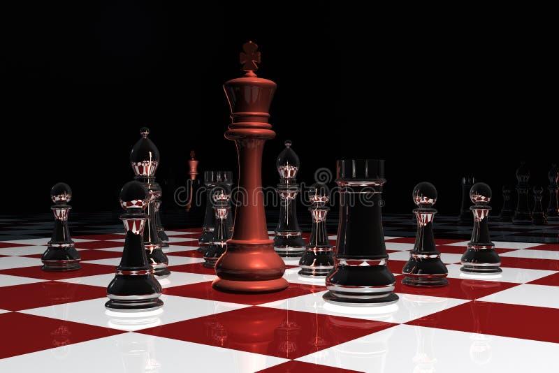 Un rey rodeado en un tablero de ajedrez stock de ilustración
