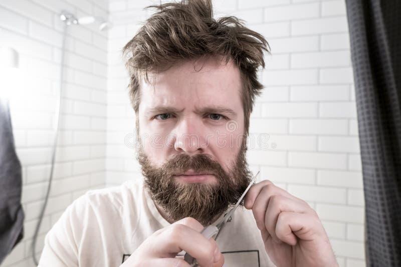 Un ribaltamento, uomo irsuto tiene le forbici in una mano in un'altra parte della sua barba e con un'intenzione seria sta andando immagini stock