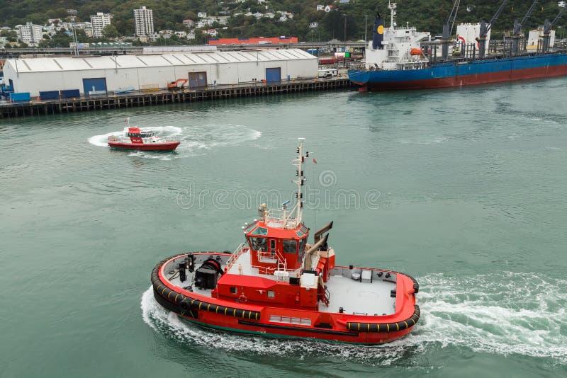 Un rimorchiatore e una barca pilota che manovrano in un porto immagine stock libera da diritti