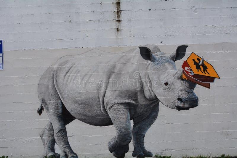 Un rinoceronte dilagante a Portland, Oregon immagine stock