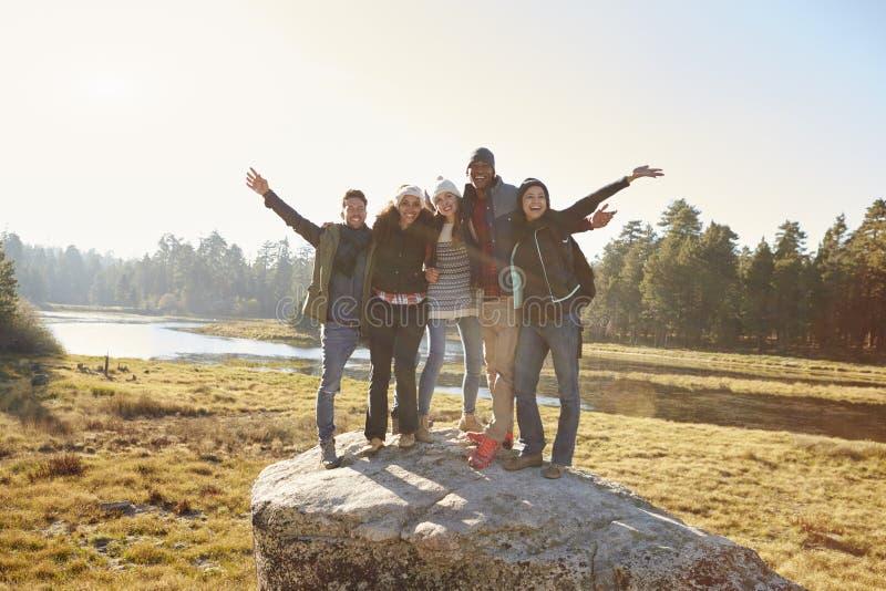 Un ritratto di cinque amici che stanno su una roccia in campagna fotografia stock libera da diritti
