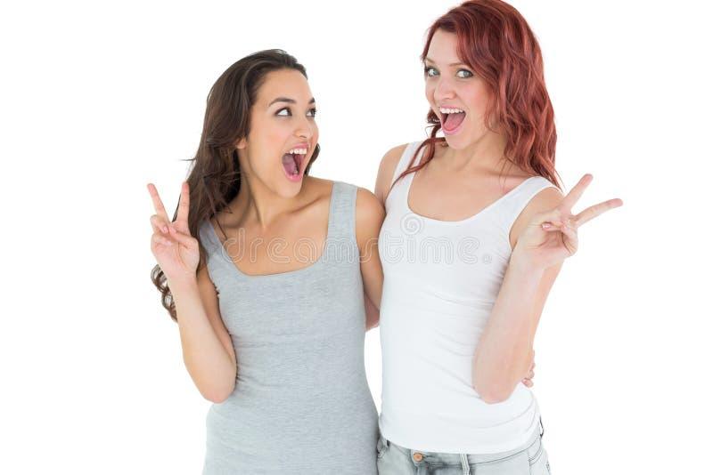 Un ritratto di due amici femminili allegri che gesturing il segno di pace immagini stock