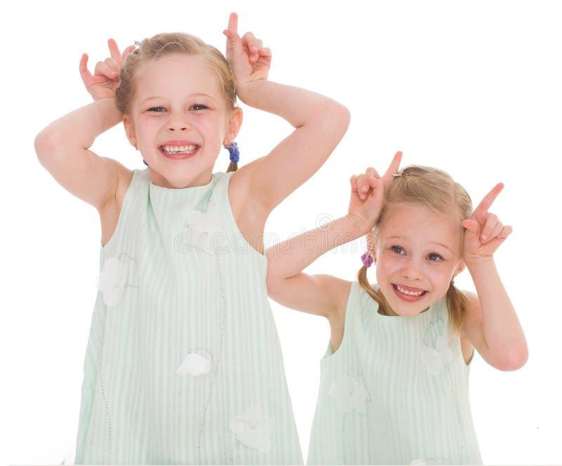 Un ritratto di due bambini allegri immagini stock libere da diritti