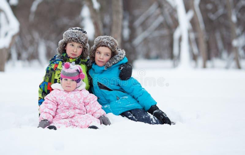 Un ritratto di due ragazzi felici allegri e la neonata nell'inverno parcheggiano immagine stock libera da diritti