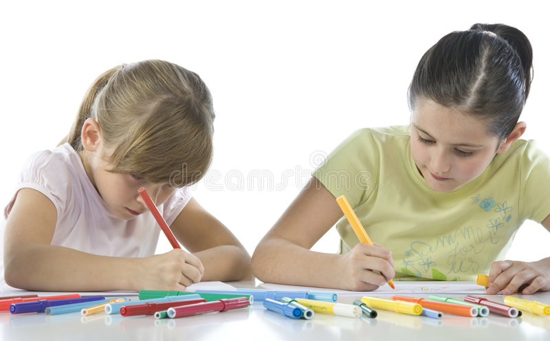 Un ritratto di due scolari fotografia stock libera da diritti