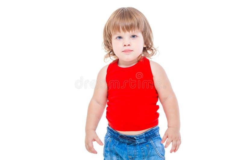 Un ritratto di giovane ragazzo di modo sui precedenti bianchi fotografia stock libera da diritti