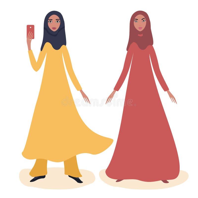 Un ritratto integrale di due giovani ragazze arabe felici illustrazione vettoriale