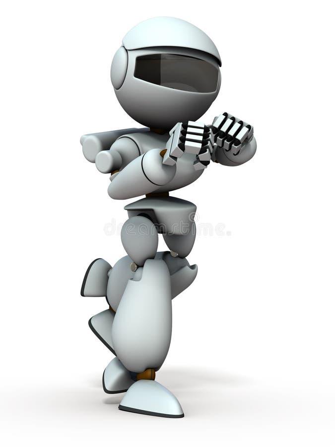 Un robot che ha lottato in una postura di combattimento Mostra uno spirito combattivo illustrazione di stock