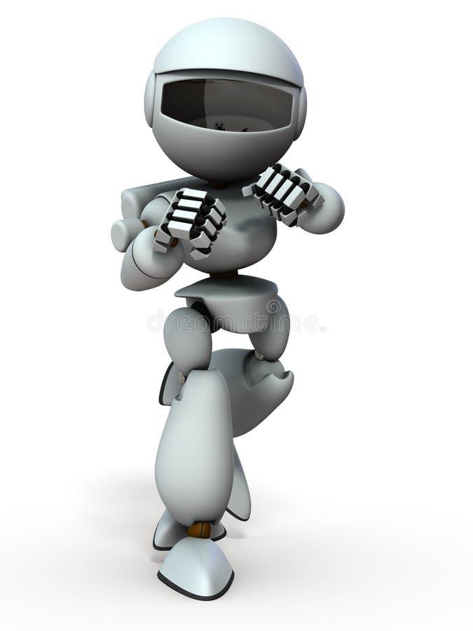 Un robot che ha lottato in una postura di combattimento illustrazione vettoriale