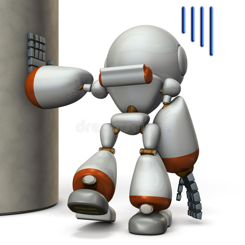 Un robot che sta appendendo su una colonna È esaurito illustrazione vettoriale