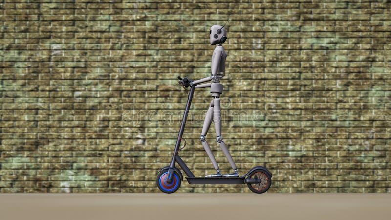 Un robot conduce en la acera con una vespa eléctrica ilustración del vector