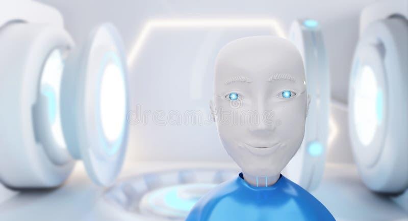 Un robot davanti ad attrezzatura tecnica 3d-illustration illustrazione vettoriale