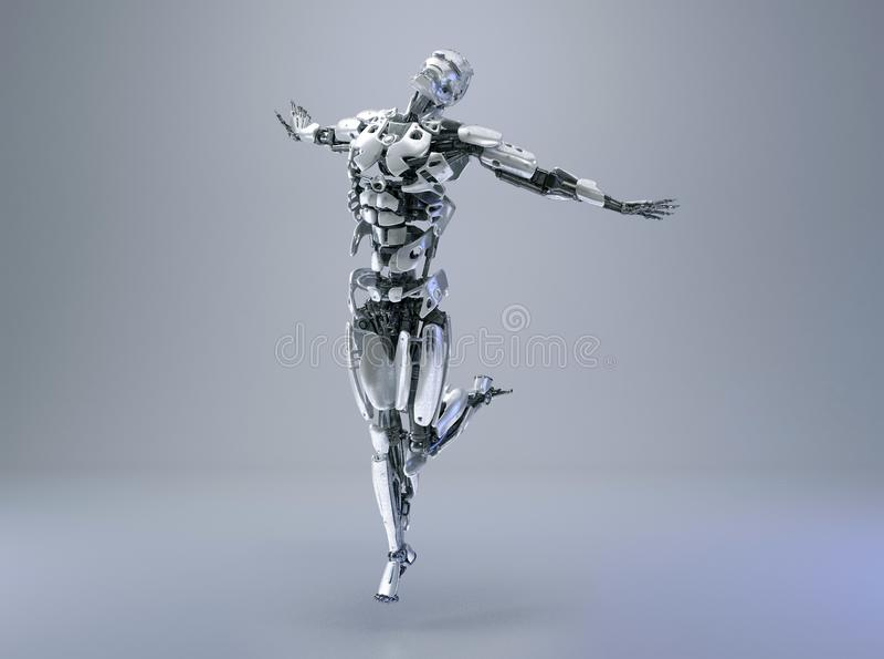 Un robot de humanoïde, un androïde ou des bras masculins de cyborg concept posent, de libertés ou de bonheur illustration 3D illustration libre de droits
