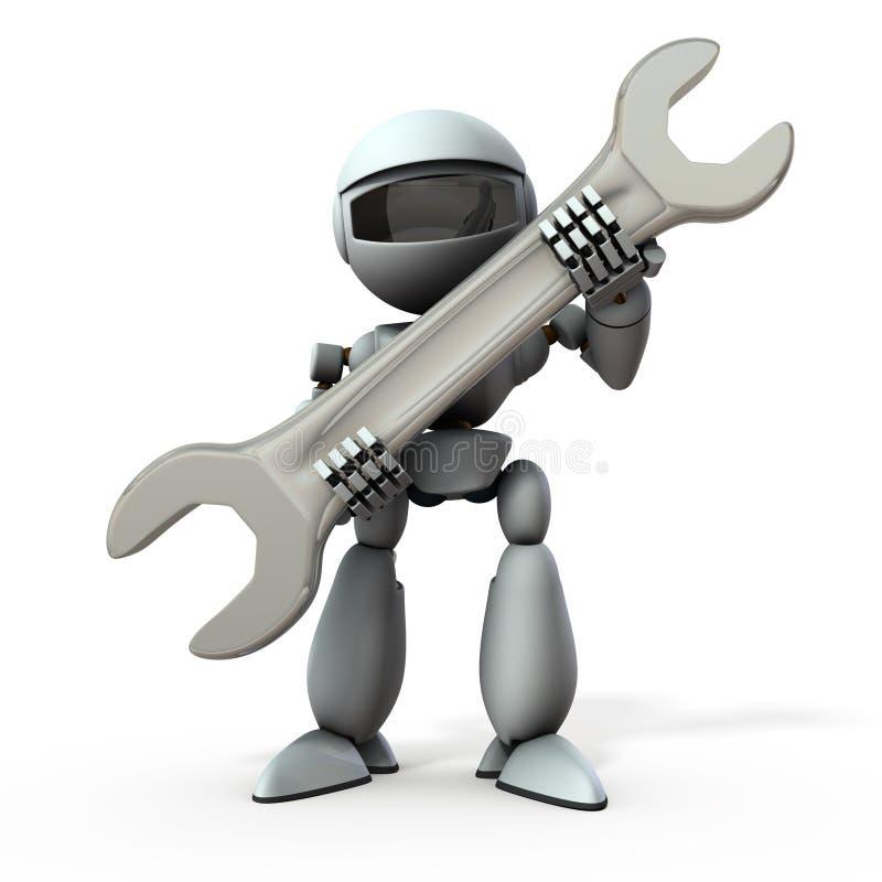 Un robot de inteligencia artificial con una llave grande libre illustration