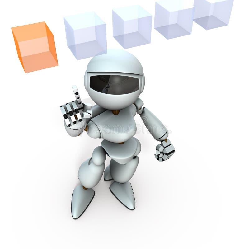 Un robot de inteligencia artificial que elige la respuesta correcta de varias opciones ilustración del vector