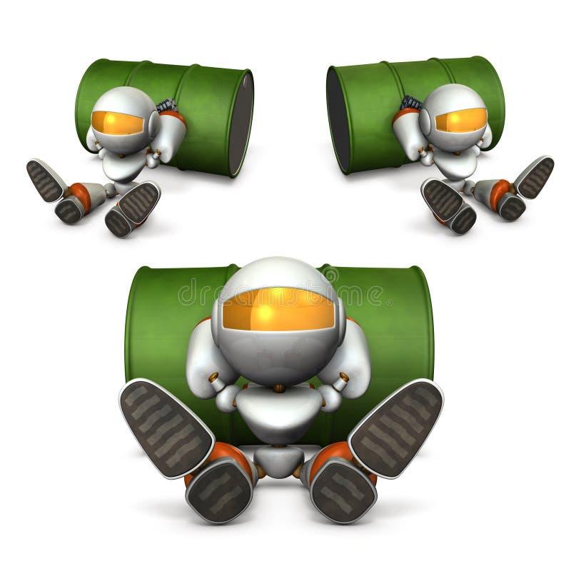 Un robot faisant une pause Il semble que il a manqué de carburant illustration de vecteur
