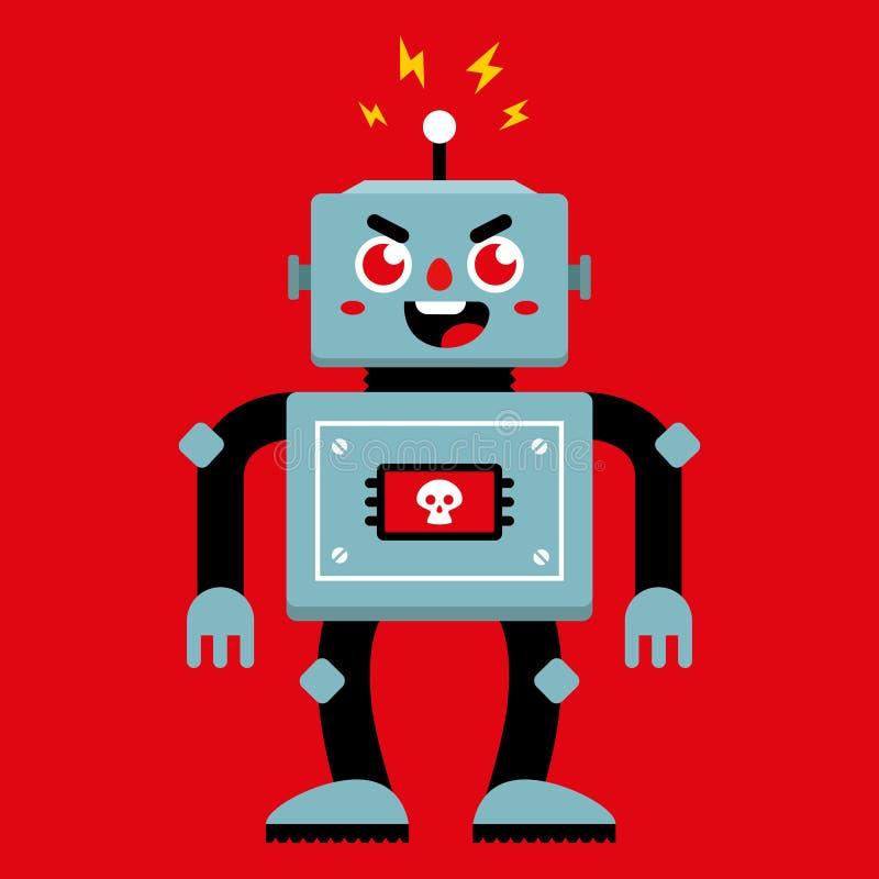 Un robot malvagio che si è rotto illustrazione di stock