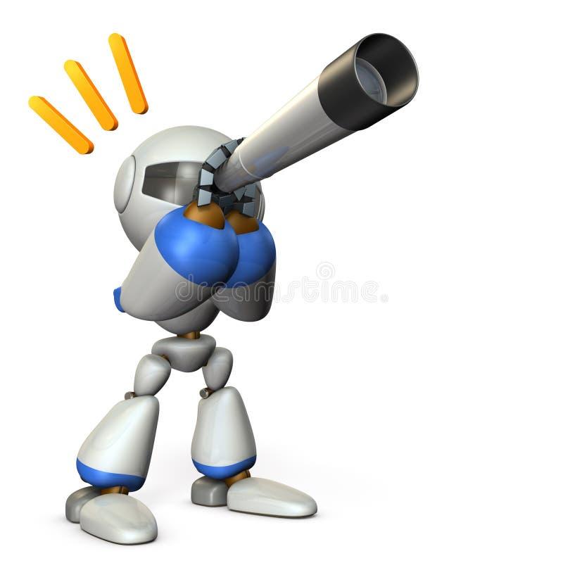 Un robot mignon regardant dans le télescope Il prévoit l'avenir illustration de vecteur