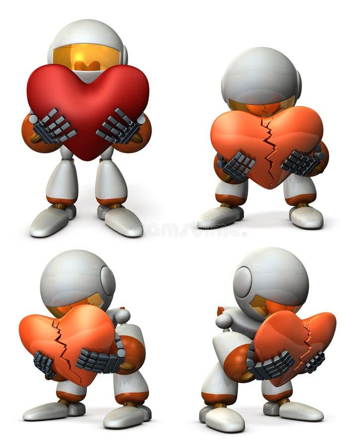 Un robot molestado Él está mintiendo con su corazón quebrado libre illustration