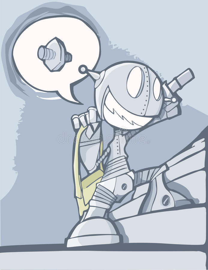 Un robot muy entusiasta stock de ilustración