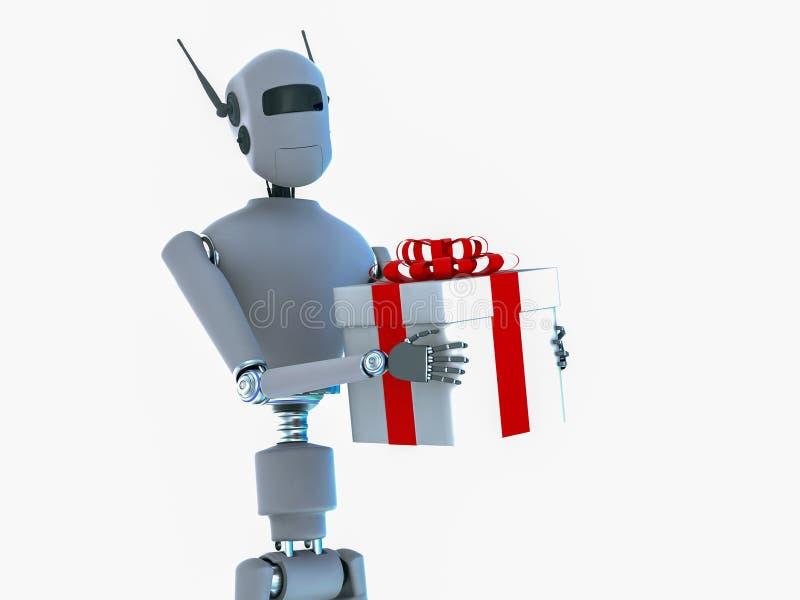 Un robot présente un cadeau avec un arc rouge illustration stock