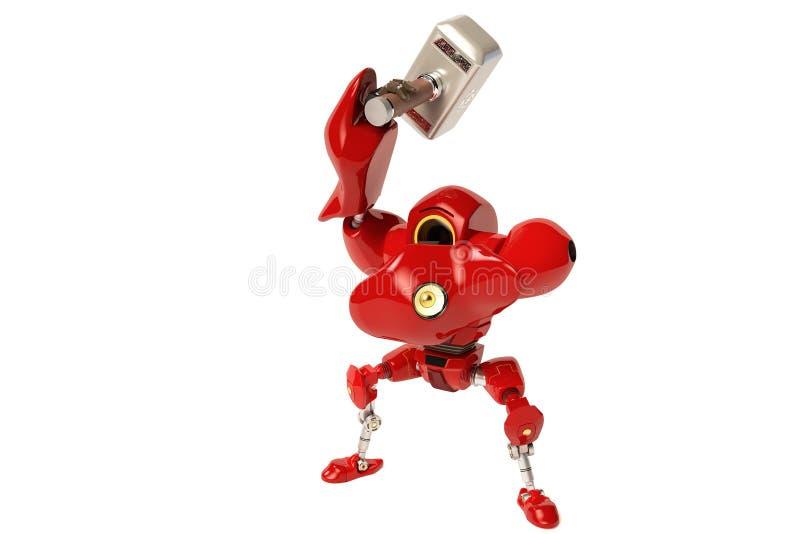 Un robot que sostiene un martillo ilustración del vector