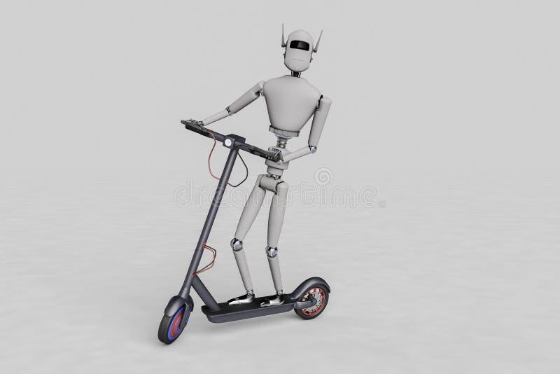 Un robot sta praticando il surfing su un motorino elettrico illustrazione di stock