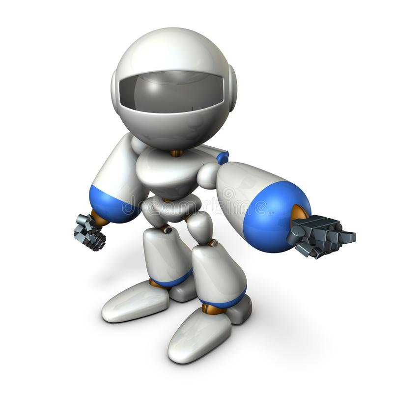 Un robot sveglio quel indica a sinistra Mostra la direzione per andare illustrazione vettoriale