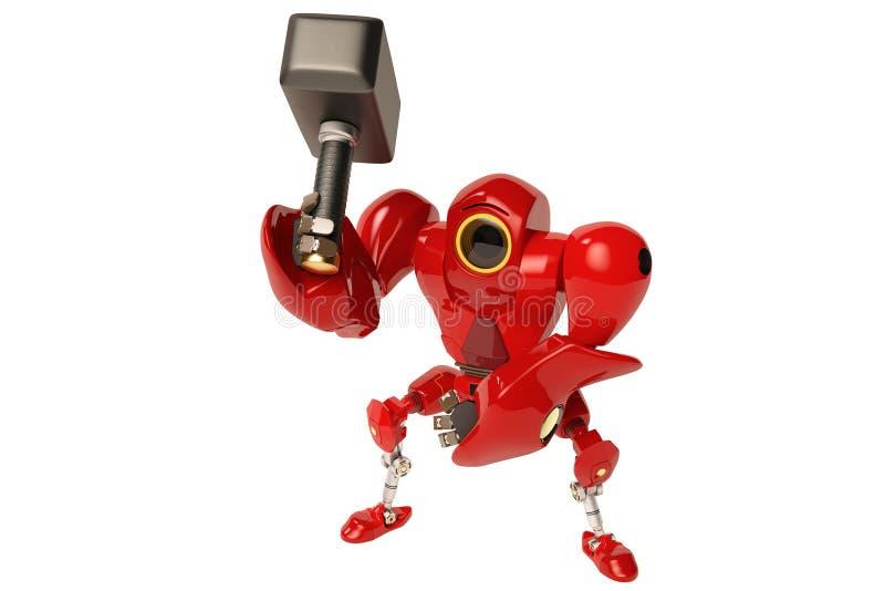 Un robot tenant un marteau illustration stock