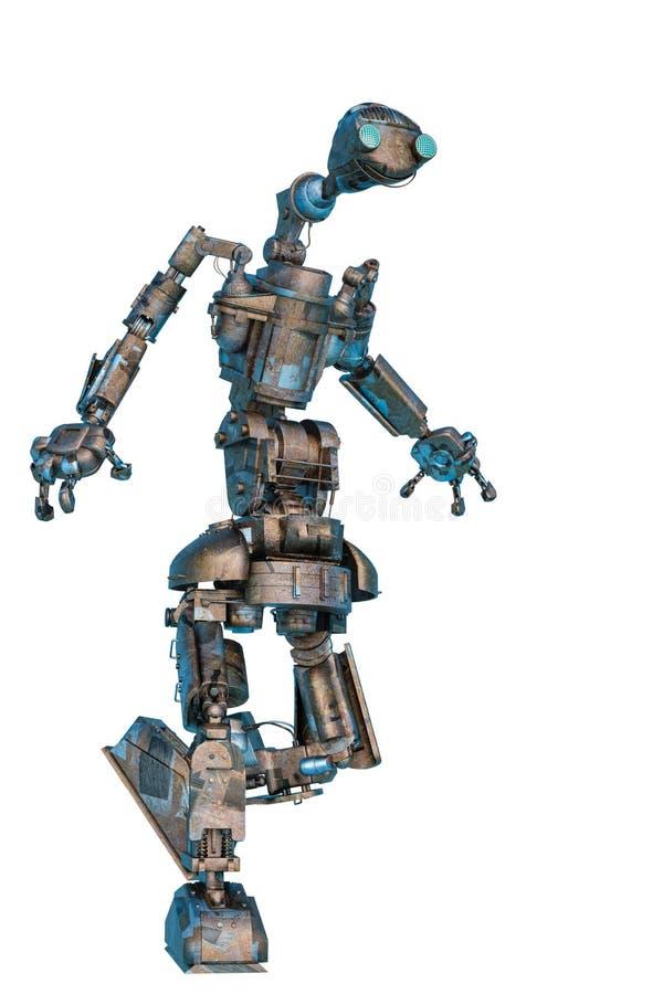 Un robot travailleur marchant