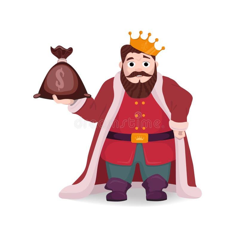 Un roi avec un sac d'argent dans sa main illustration libre de droits