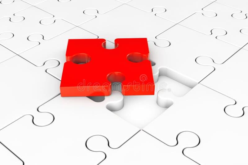Un rompecabezas rojo sobre el grupo de rompecabezas blancos libre illustration