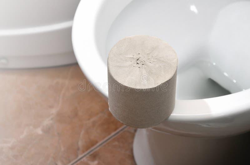 Un rotolo della carta igienica grigia si trova su una toilette ceramica bianca nel bathroo fotografia stock libera da diritti