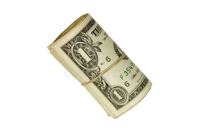 Un rotolo delle fatture dell'un dollaro fotografie stock libere da diritti