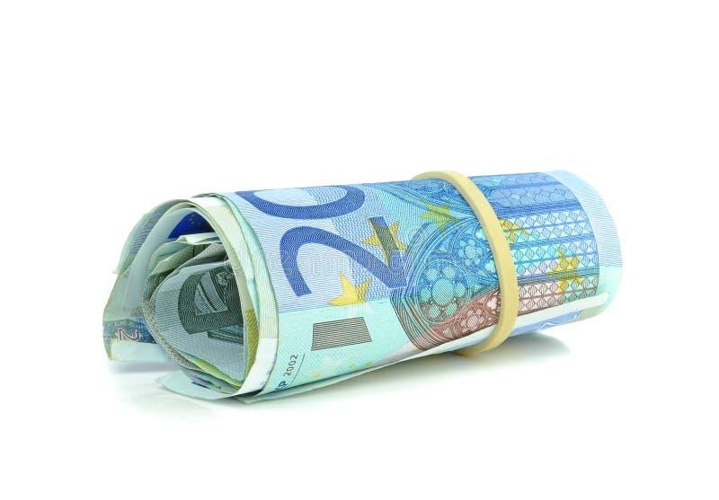 Un rouleau d'euro billets de banque d'argent image libre de droits