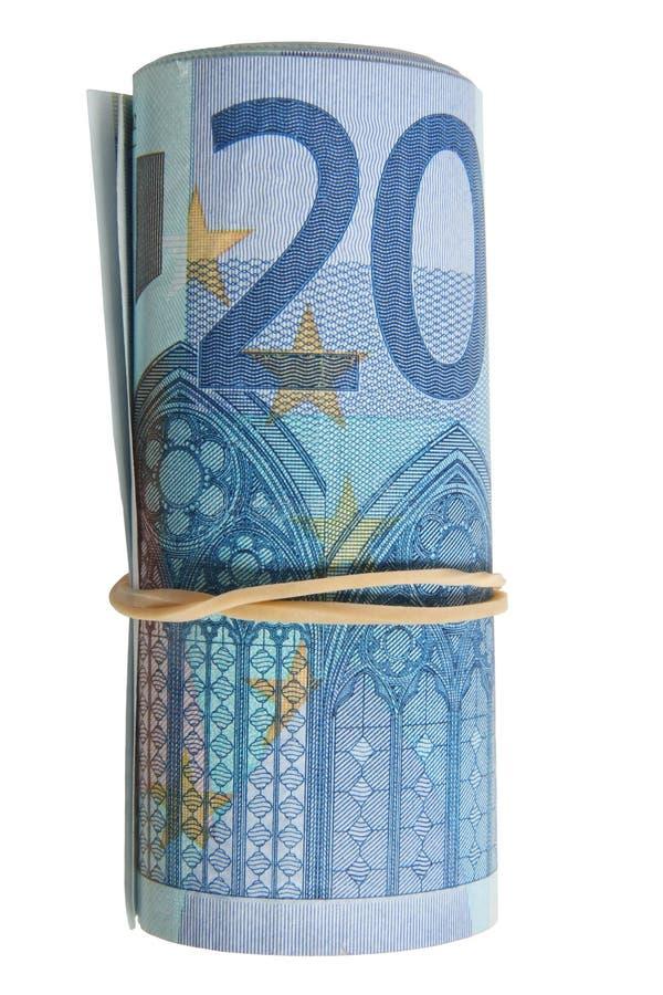 Un rouleau de 20 euro notes. photographie stock libre de droits