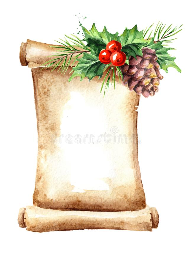 Un rouleau de vieux papier avec des éléments de Noël Illustration tirée par la main d'aquarelle, d'isolement sur le fond blanc illustration de vecteur