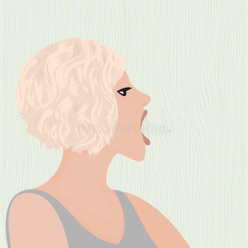Un rutto dalla bocca di bella ragazza illustrazione di stock