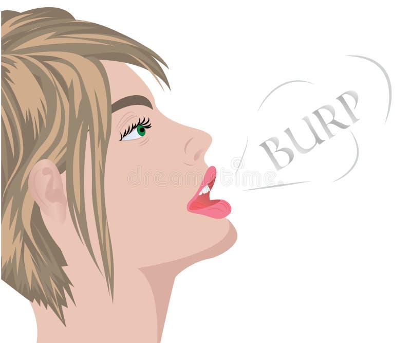 Un rutto dalla bocca di bella ragazza illustrazione vettoriale