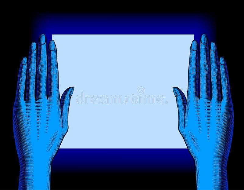 Un ` s di due donne passa la palma giù dai lati dello schermo di monitor i royalty illustrazione gratis