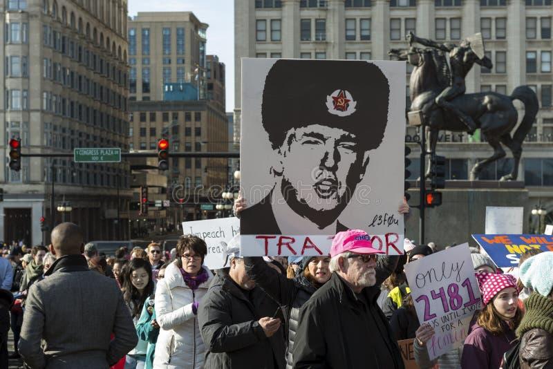 Un ` s marzo di 2018 donne in Chicago immagini stock
