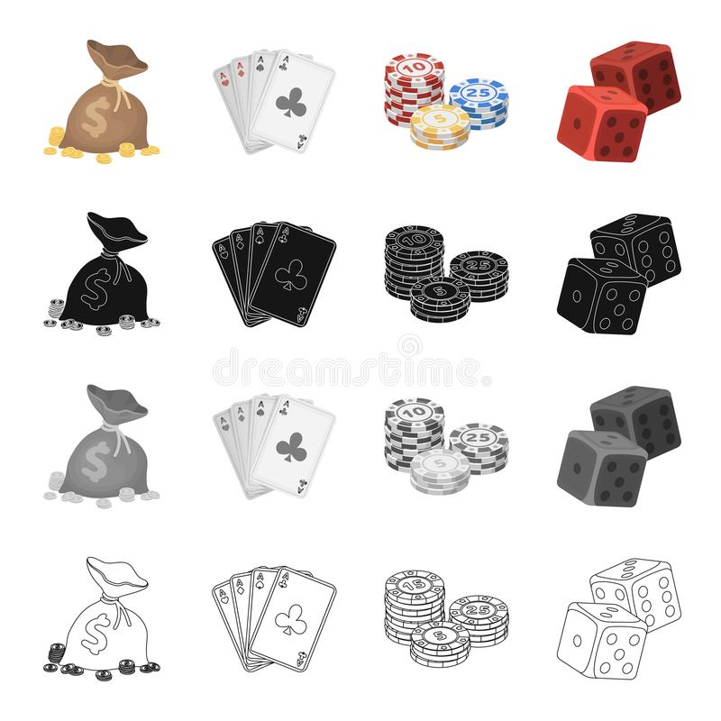 Un sac d'argent, une plate-forme des cartes, puces dans le casino, matrices, cubes Icônes réglées de collection de casino dans le illustration de vecteur
