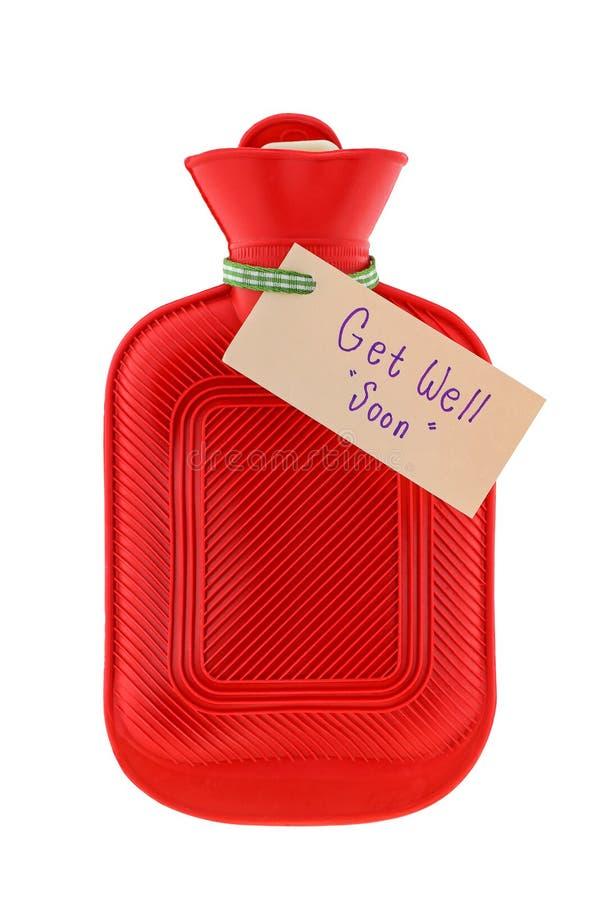 Un sac d'eau d'un rouge ardent avec un papier écrit obtiennent bien bientôt image libre de droits