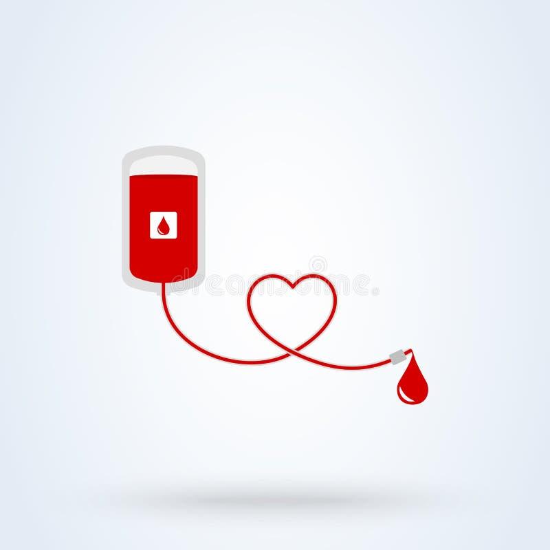 Un sac de don du sang avec le tube form? comme coeur Illustration de conception moderne de vecteur illustration stock