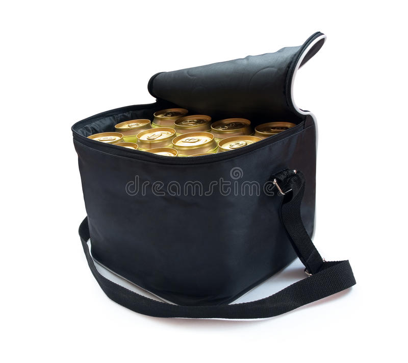 Un sac plus frais avec des bidons de bière image stock