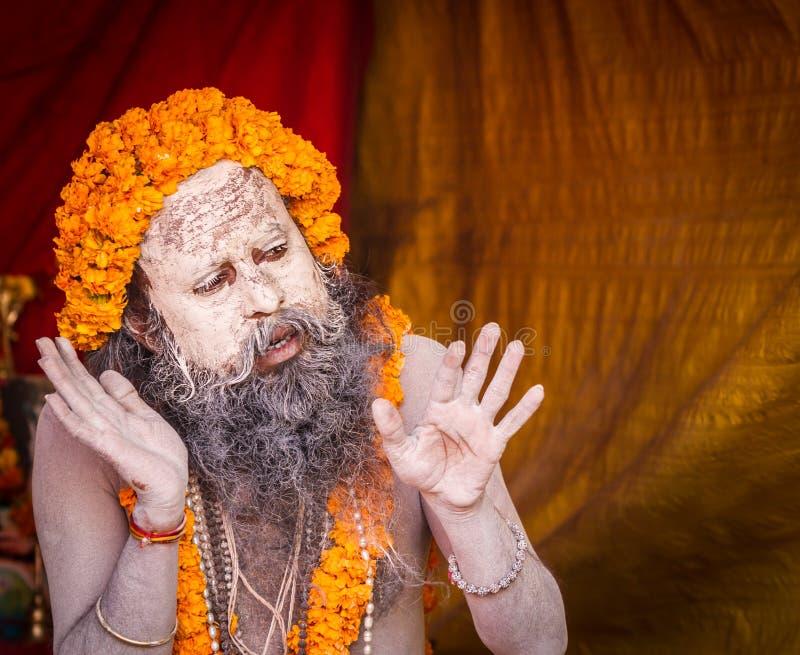 Un sacerdote indù che predica al Kumbha Mela in India fotografia stock libera da diritti