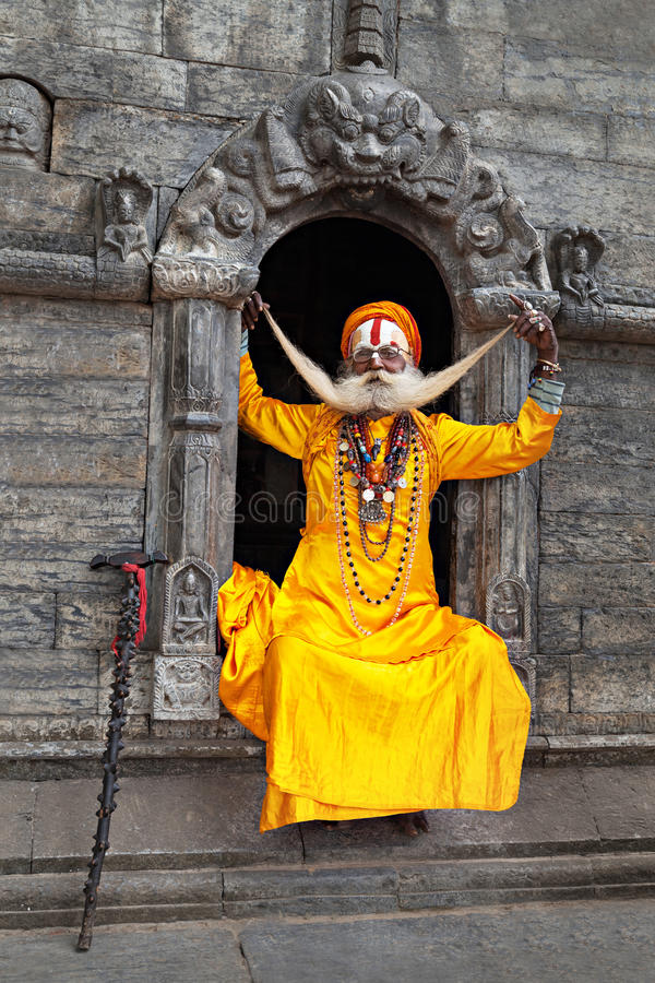 Un sadhu au temple de Pashupatinath photo stock